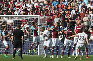 Gylfi Sigurdsson of Swansea City (R) takes a free kick and goes close to scoring . Premier league match, West Ham Utd v Swansea city at the London Stadium, Queen Elizabeth Olympic Park in London on Saturday 8th April 2017.<br /> pic by Steffan Bowen, Andrew Orchard sports photography.