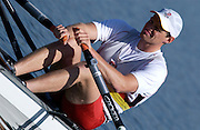 Hazewinkel, BELGIUM, Men's Single Scull, Alan CAMBPELL, moves away from the start pontoon in the Sunday, semi final, during the GB Rowing Senior Trials, on Sun,15.04.2007  [Credit, Peter Spurrier/Intersport-images]   [Mandatory Credit, Peter Spurier/ Intersport Images]. , Rowing Course, Bloso, Hazewinkel. BELGUIM