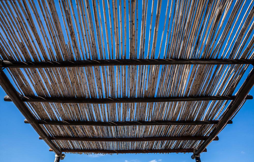 A bamboo pole shade roof, San Jose del Cabo, B.C.S., Mexico.