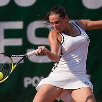 Roberta Vinci from Italy plays a winning game against Irina-Camelia Begu from Roumania (not pictured) during the WTA tour Budapest Grand Prix international women tennis competition held at Roman Tennis Academy in Budapest, Hungary on July 10, 2011. ATTILA VOLGYI