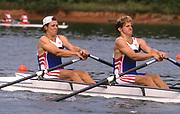 Atlanta, USA., GBR M2X,  Stroke. Bobby THATCHER, James CRACKNELL, 1996 Olympic Rowing Regatta Lake Lanier, Georgia [Mandatory Credit Peter Spurrier/ Intersport Images]