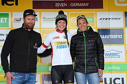 November 25, 2017 - Zeven, GERMANY - Telenet Fidea Dutch women Fleur Nagengast and German Hanka Kupfernagel pictured on the podium with the U23 UCI Leaders jersey after the women elite race of the World Cup cyclocross in Zeven, Germany, the fifth race of the UCI Cyclocross World Cup championship, Saturday 25 November 2017. BELGA PHOTO LUC CLAESSEN (Credit Image: © Luc Claessen/Belga via ZUMA Press)