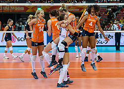 15-10-2018 JPN: World Championship Volleyball Women day 16, Nagoya<br /> Netherlands - USA 3-2 / Lonneke Sloetjes #10 of Netherlands, Laura Dijkema #14 of Netherlands, Myrthe Schoot #9 of Netherlands, Maret Balkestein-Grothues #6 of Netherlands, Celeste Plak #4 of Netherlands