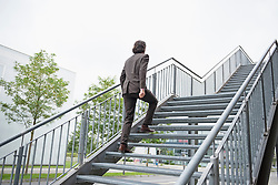 Young businessman ascent ladder of success job