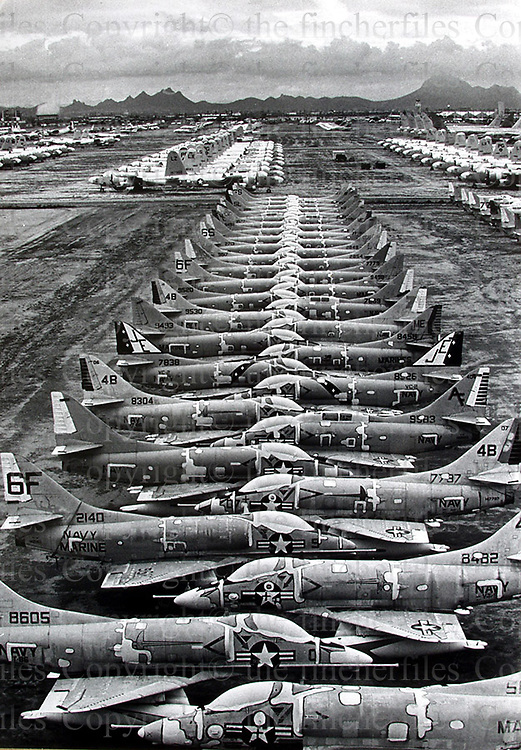 Davis-Monthan airbase in Arizona,USA. Aircraft boneyard for storage for old planes including B52 bombers, jet fighters, helicopters 1977. Photographed by Terry Fincher