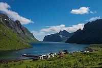 View over islolate village of Kirkefjord, Moskenesøy, Lofoten Islands, Norway