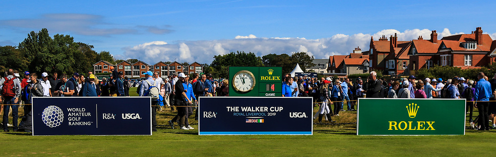The 1st tee during Day 2 Foursomes at the Walker Cup, Royal Liverpool Golf CLub, Hoylake, Cheshire, England. 08/09/2019.<br /> Picture Thos Caffrey / Golffile.ie<br /> <br /> All photo usage must carry mandatory copyright credit (© Golffile   Thos Caffrey)