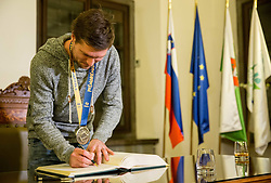 Marko Bezjak signing the City of Ljubljana's Golden Book during reception of Slovenian National Handball Men team after they placed third at IHF World Handball Championship France 2017, on January 30, 2017 in City hall, Ljubljana centre, Slovenia. Photo by Vid Ponikvar / Sportida