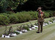 A female Australian soldier looks at the graves of military personnel who died in Japan during the war or occupation at Hodagya  Commonwealth War Graves cemetery on Remembrance Sunday in Hodogaya, Yokohama, Kanagawa, Japan. Sunday November 12th 2017. The Hodagaya Cemetery holds the remains of more than 1500 servicemen and women, from the Commonwealth but also from Holland and the United States, who died as prisoners of war or during the Allied occupation of Japan. Each year officials from the British and Commonwealth embassies, the British Legion and the British Chamber of Commerce honour the dead at a ceremony in this beautiful cemetery.