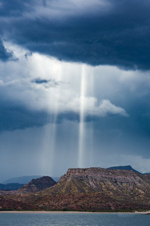 Afternoon clouds, sun shafts, March, Sea of Cortez, Baja, Mexico