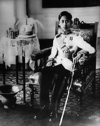 Ananda Mahidol (20 September 1925–9 June 1946) was the eighth monarch of Thailand under the House of Chakri. He was recognized as king by the National Assembly in March 1935. He was a nine-year-old boy living in Switzerland at this time. He returned to Thailand in December 1945. He was found shot to death in his bed in June 1946.