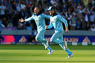 England Are World Champions - Eoin Morgan of England celebrates as Martin Guptill of New Zealand is run out in the super over and England win the World Cup during the ICC Cricket World Cup 2019 Final match between New Zealand and England at Lord's Cricket Ground, St John's Wood, United Kingdom on 14 July 2019.
