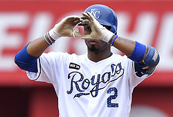 July 2, 2017 - Kansas City, MO, USA - Kansas City Royals' Alcides Escobar signals to the dugout after his RBI double scored Ramon Torres in the fourth inning against the Minnesota Twins on Sunday, July 2, 2017 at Kauffman Stadium in Kansas City, Mo. (Credit Image: © John Sleezer/TNS via ZUMA Wire)