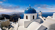 Traditional blue domed Greek Orthodox church of Imerovigli, Island of Thira, Santorini, Greece. .<br /> <br /> If you prefer to buy from our ALAMY PHOTO LIBRARY  Collection visit : https://www.alamy.com/portfolio/paul-williams-funkystock/santorini-greece.html<br /> <br /> Visit our PHOTO COLLECTIONS OF GREECE for more photos to download or buy as wall art prints https://funkystock.photoshelter.com/gallery-collection/Pictures-Images-of-Greece-Photos-of-Greek-Historic-Landmark-Sites/C0000w6e8OkknEb8