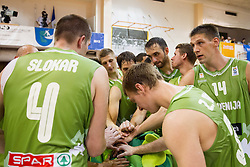 Players of Slovenia after the friendly match between National teams of Slovenia and Republic of Macedonia for Eurobasket 2013 on July 28, 2013 in Litija, Slovenia. Slovenia defeated Macedonia 63-54. (Photo by Vid Ponikvar / Sportida.com)