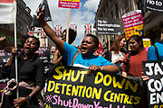Black Lives Matter supporters calling for a shut down of detention centres at the Peoples Assembly demonstration: No More Austerity - No To Racism - Tories Must Go, on Saturday July 16th in London, United Kingdom. Tens of thousands of people gathered to protest in a march through the capital protesting against the Conservative Party cuts. Almost 150 Councillors from across the country have signed a letter criticising the Government for funding cuts and and will be joining those marching in London. The letter followed the recent budget in which the Government laid out plans to cut support for disabled people while offering tax breaks for big business and the wealthy.