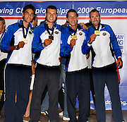 Marathon, GREECE, ITA LM4- Men's Lightweight fours presentation  for the 2008  FISA European Rowing Championships, at the Club Med. 20/09/2008  [Mandatory Credit Peter Spurrier/ Intersport Images] , Rowing Course; Lake Schinias Olympic Rowing Course. GREECE