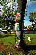 Public artwork on display as part of the annual Trunk Art Wrap Festival in Bassendean, Western Australia. All artworks are made entirely of recycled industrial or domestic waste materials