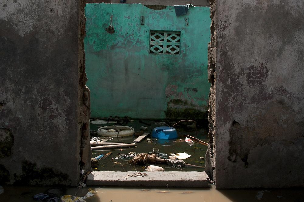 A flooded abandoned home in the destitute community of Shada. Cap Haitian, Haiti, January 28, 2008.