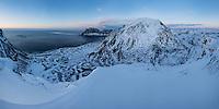 Winter view over Uttakleiv beach from Mannen, Vestvågøy, Lofoten Islands, Norway