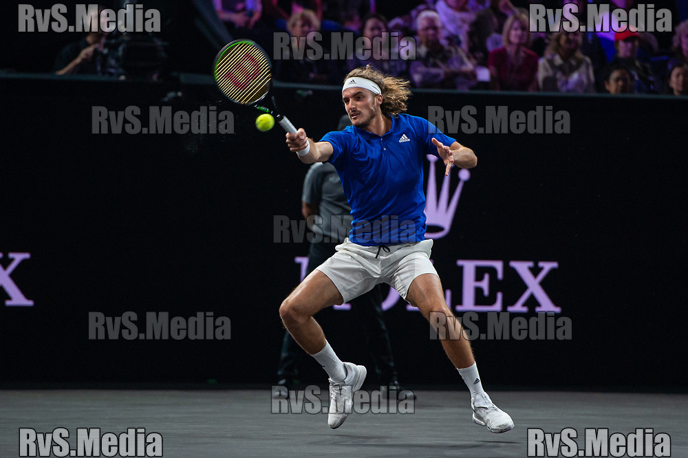 GENEVA, SWITZERLAND - SEPTEMBER 20: Stefanos Tsitsipas of Team Europe plays a forehand during Day 1 of the Laver Cup 2019 at Palexpo on September 20, 2019 in Geneva, Switzerland. The Laver Cup will see six players from the rest of the World competing against their counterparts from Europe. Team World is captained by John McEnroe and Team Europe is captained by Bjorn Borg. The tournament runs from September 20-22. (Photo by Monika Majer/RvS.Media)