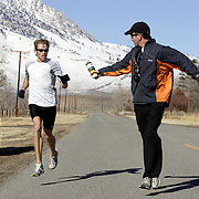 BISHOP, CA, January 19, 2008: Ryan Hall is coached by Terrence Mahon while training at the base of the Eastern Sierra mountains outside the town of Bishop, California about 30 miles from Mammoth Lakes. The high altitude and clean air provide a picturesque and challenging training ground for the Olympic hopeful.