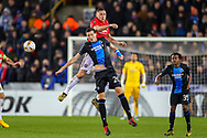 Manchester United midfielder Nemanja Matić (31) beats Club Brugge midfielder Hans Vanaken (20) to the ball and heads clear during the Europa League match between Club Brugge and Manchester United at Jan Breydel Stadion, Brugge, Belguim on 20 February 2020.
