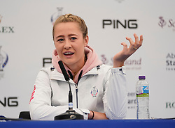 Auchterarder, Scotland, UK. 12 September 2019. Press conference with Team USA players, sisters Jessica and Nelly Korda at the 2019 Solheim Cup. Pictured; Nelly Korda. Iain Masterton/Alamy Live News