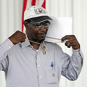 Sugar Ray Seales, 1972 Olympic Gold medalist, speaks during the 23rd Annual induction weekend opening ceremony at the International Boxing Hall of Fame on Thursday, June 7, 2012 in Canastota, NY. (AP Photo/Alex Menendez)