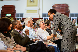 JOHANNESBURG, April 1, 2017  Graca Machel (1st R),?widow of late former South Africa's President Nelson Mandela, greets Ahmed Kathrada's wife Barbara Hogan during a memorial service for Ahmed Kathrada at Johannesburg City Hall,?South?Africa, on April 1, 2017. Ahmed Kathrada Foundation, Nelson Mandela Foundation and South African Communist Party held a memorial service for anti-apartheid stalwart Ahmed Kathrada, who died on Tuesday morning at 87. (Credit Image: © Zhai Jianlan/Xinhua via ZUMA Wire)