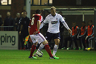 Bolton's Eidur Gudjohnsen (r) in action. Barclays U21 Premier league match, Bolton Wanderers U21's  v Middlesbrough U21's at The Leyland county ground in Bolton, Lancs on Monday 1st December 2014.<br /> pic by Chris Stading, Andrew Orchard sports photography.