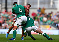 Rugby Union - 2019 pre-Rugby World Cup warm-up (Guinness Summer Series) - Ireland vs. Wales<br /> <br /> Ross Moriarty (Wales) is tackled by CJ Stander (Ireland) and Cian Healy (Ireland) at The Aviva Stadium.<br /> <br /> COLORSPORT/KEN SUTTON