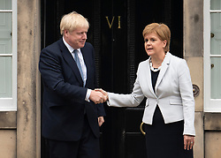 Edinburgh, Scotland, UK. 29 July 2019. Prime Minister Boris Johnson meets Scotland's First Minister Nicola Sturgeon at Bute House in Edinburgh on his visit to Scotland.