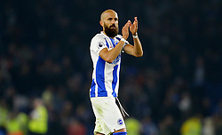 Brighton & Hove Albion's Bruno Saltor applauds the fans after the Premier League match at the AMEX Stadium, Brighton.
