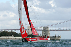 November 3, 2017 - Lisbon, Portugal - Dongfeng Race team captained by French Charles Caudrelier in action during the Volvo Ocean Race 2017-2018 In-port Race at the Tagus River in Lisbon, Portugal on November 3, 2017. (Credit Image: © Pedro Fiuza/NurPhoto via ZUMA Press)