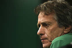 September 26, 2017 - Lisbon, Portugal - Sporting's head coach Jorge Jesus during a press conference at Alvalade stadium in Lisbon,  on September 26, 2017, on the eve of the UEFA Champions League Group D football match Sporting CP vs FC Barcelona. (Credit Image: © Filipe Amorim/NurPhoto via ZUMA Press)