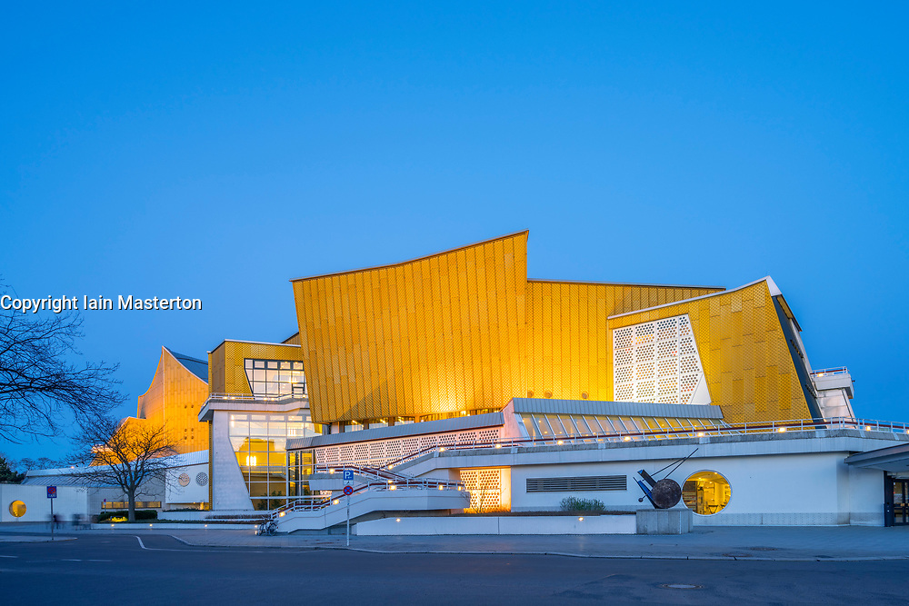 Night view of Berlin Philharmonie concert halls, home of Berlin Philharmonic orchestra in Berlin, Germany