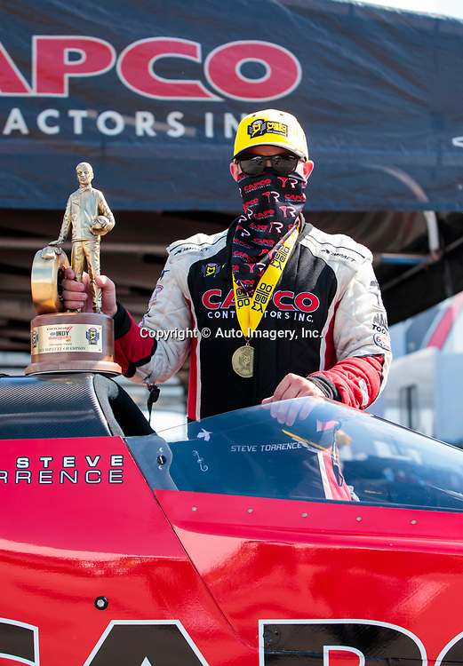Aug 9, 2020; Clermont, Indiana, USA; NHRA top fuel driver Steve Torrence celebrates after winning the Indy Nationals at Lucas Oil Raceway. Mandatory Credit: Mark J. Rebilas-USA TODAY SportsDodge NHRA Indy Nationals presented by Pennzoil