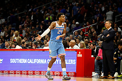 January 27, 2019 - Los Angeles, CA, U.S. - LOS ANGELES, CA - JANUARY 27: Sacramento Kings guard Buddy Hield (24) reacts after a call during the game against the Los Angeles Clippers on January 27, 2019, at Staples Center in Los Angeles, CA. (Photo by Adam  Davis/Icon Sportswire) (Credit Image: © Adam Davis/Icon SMI via ZUMA Press)