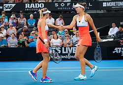 January 5, 2019 - Brisbane, AUSTRALIA - Nicole Melichar of the United States & Kveta Peschke of the Czech Republic in action during the doubles final of the 2019 Brisbane International WTA Premier tennis tournament (Credit Image: © AFP7 via ZUMA Wire)