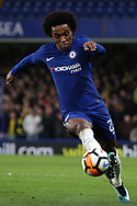 Willian of Chelsea in action. The Emirates FA Cup, 3rd round replay match, Chelsea v Norwich City at Stamford Bridge in London on Wednesday 17th January 2018.<br /> pic by Steffan Bowen, Andrew Orchard sports photography.
