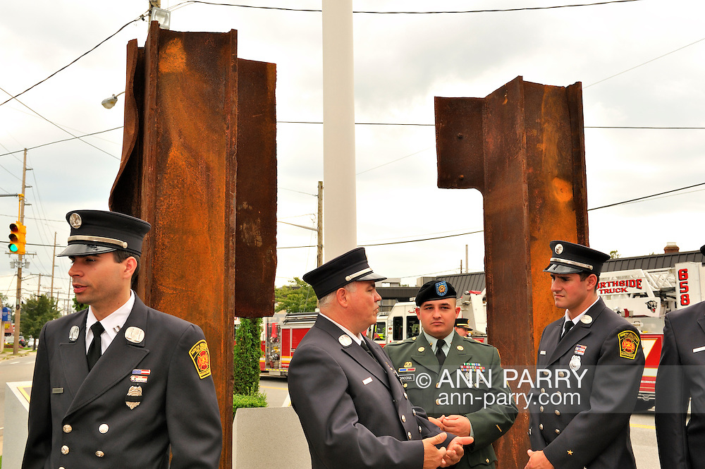 North Bellmore, NY, USA. Sept. 10, 2011. North Bellmore Fire Department 9/11 remembrance ceremony and unveiling of two pieces of steel from the World Trade Center added to the existing 9/11 monument, 1500 Newbridge Road, North Bellmore.