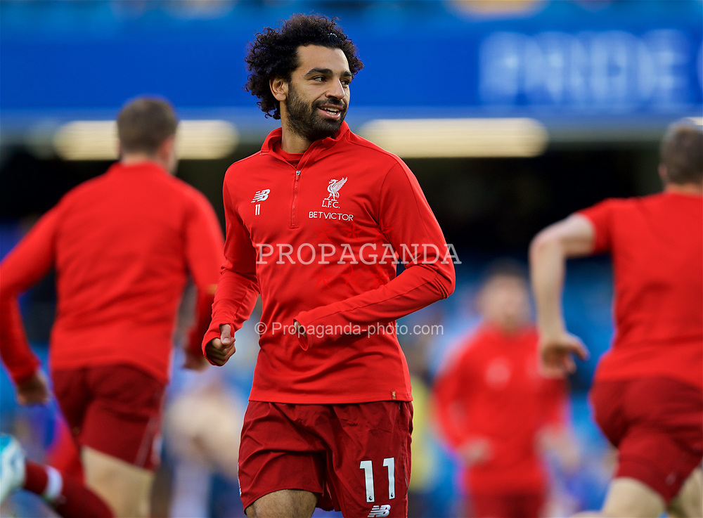 LONDON, ENGLAND - Saturday, September 29, 2018: Liverpool's Mohamed Salah during the pre-match warm-up before the FA Premier League match between Chelsea FC and Liverpool FC at Stamford Bridge. (Pic by David Rawcliffe/Propaganda)