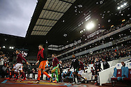 Both teams enter the pitch before k/o. Barclays Premier league match, West Ham Utd v Stoke city at the Boleyn Ground, Upton Park  in London on Saturday 12th December 2015.<br /> pic by John Patrick Fletcher, Andrew Orchard sports photography.