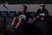 Gilbert Melendez waits backstage before the UFC weigh-in at the Mexico City Arena in Mexico City, Mexico on June 12, 2015. (Cooper Neill)
