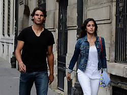 NO WEB NO APPS UNTIL JUNE 21, 2013 - Exclusive - Spanish tennisman Rafael Nadal and his girlfriend Xisca Perello take a romantic stroll apart the French Tennis Open in Paris, France on June 6, 2013. Photo by ABACAPRESS.COM  Hors-Sport Hors Sport Paparazzi Pictures Planque Stake Out  | 367872_001