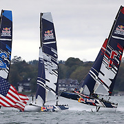 NEWPORT, RHODE ISLAND- OCTOBER 22:  The Belgium team of Alec Bague and Wirtz Morgan, (right),  in action during a heat start in the Red Bull Foiling Generation World Final 2016 on October 22, 2016 in Narragansett Bay, Newport, Rhode Island. (Photo by Tim Clayton/Corbis via Getty Images)