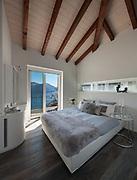 Interior of a loft, comfortable bedroom, modern design