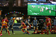 Sarel Preorius of the Dragons ©. Guinness Pro14 rugby match, Cardiff Blues v Dragons at the Cardiff Arms Park in Cardiff, South Wales on Friday 6th October 2017.<br /> pic by Andrew Orchard, Andrew Orchard sports photography.