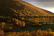 Salisbury Mills, New York - A view of the Moodna Viaduct railroad trestle and Schunnemunk Mountain at sunset on Nov. 3, 2013.
